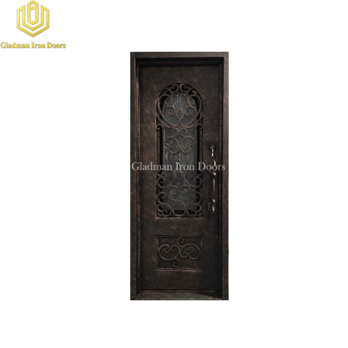 Square Top Wrought Iron Front Door Single Gate Design W/ Ripple Glass