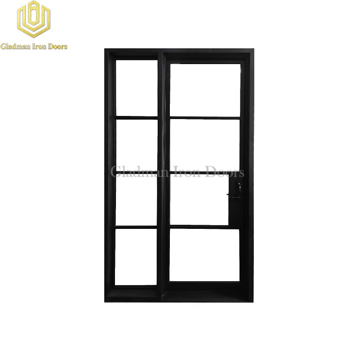 Custom French Style Doors Iron Square Top Clear Glasses Left Hand Inswing