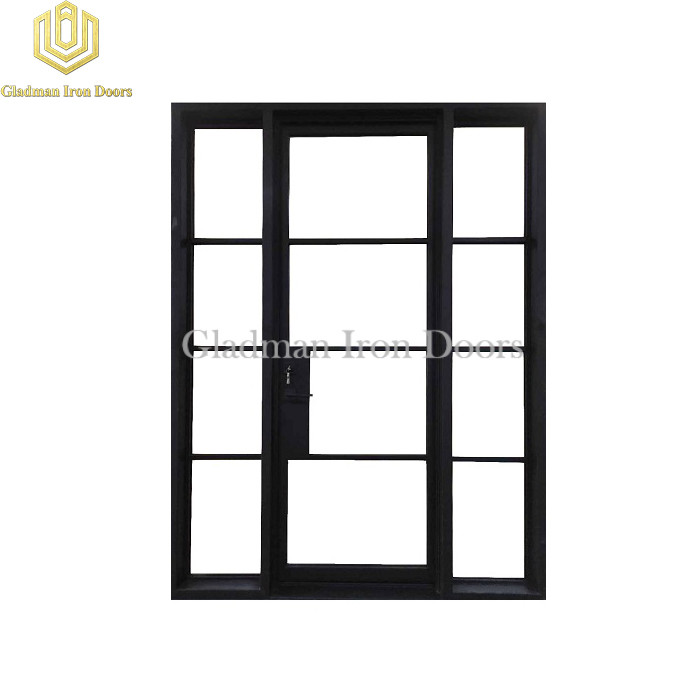 French Style Doors Iron Square Top Clear Glasses W/ Side Light Design