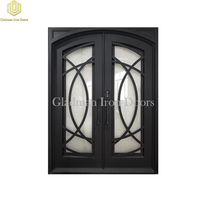 Double Wrought Iron Front Door Eyebrow Door W/ Cross Flat Bar Matte Black