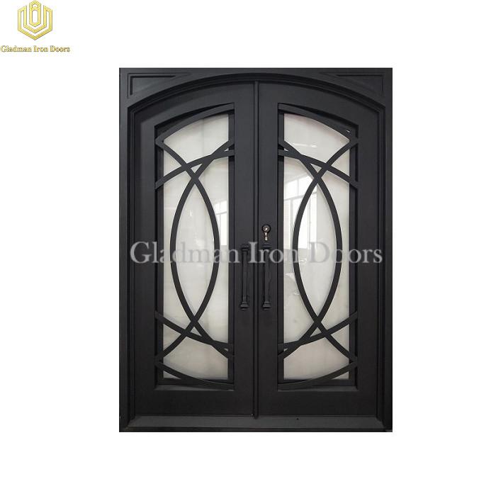 Double Wrought Iron Front Door Eyebrow Door W/ Cross Flat Bar Matte Black