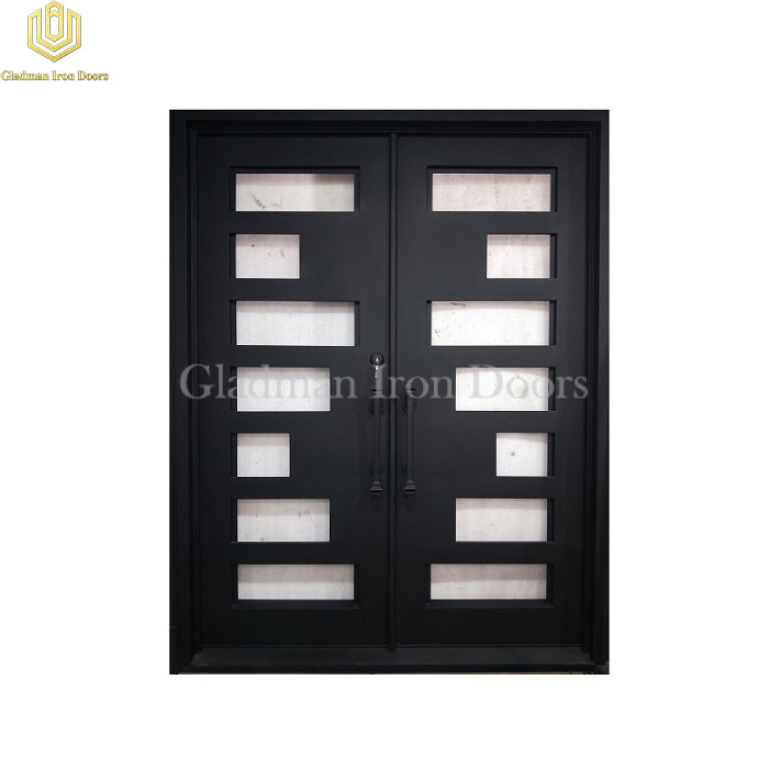 Double Wrought Iron Front Door Square W/ Rain and Clear Glass