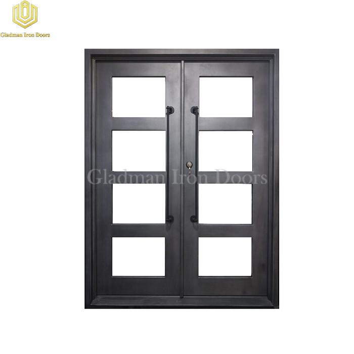 Double Wrought Iron Front Door Square Top Nickel