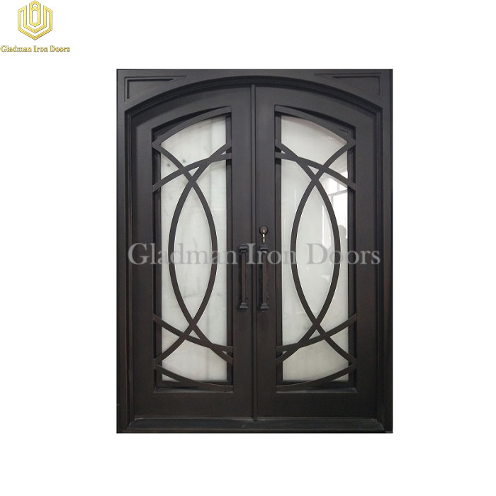 Double Wrought Iron Front Door Square Top Eyebrow Door W/ Cross Flat Bar Aged Bronze Patina