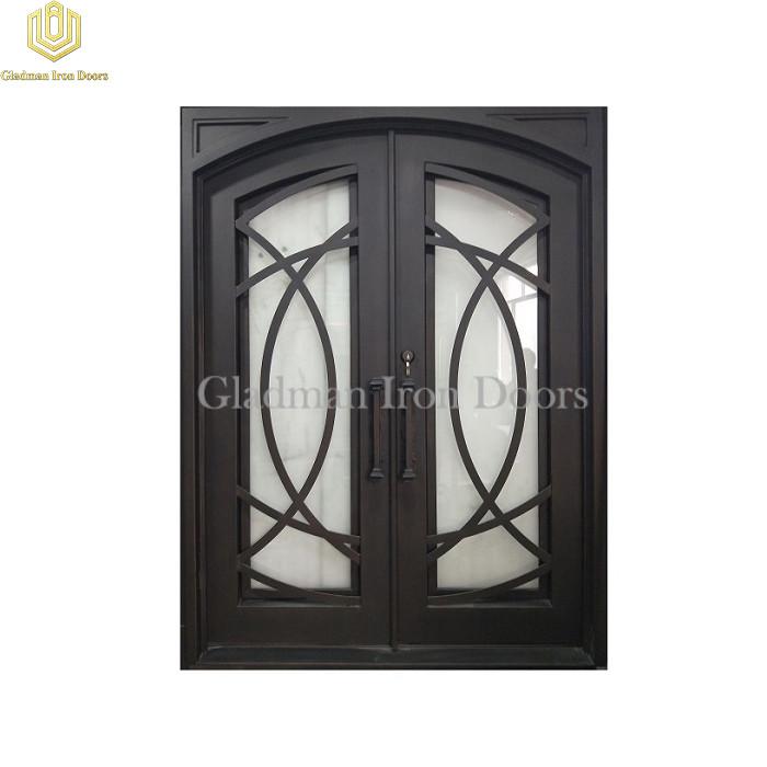 Double Wrought Iron Front Door Square Top Eyebrow Door W/ Cross Flat Bar Aged Bronze Patina