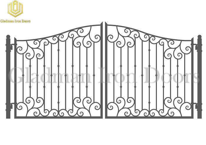 Galvanized Steel Gate DUBLIN Style With Simple Curved Flower GS-03