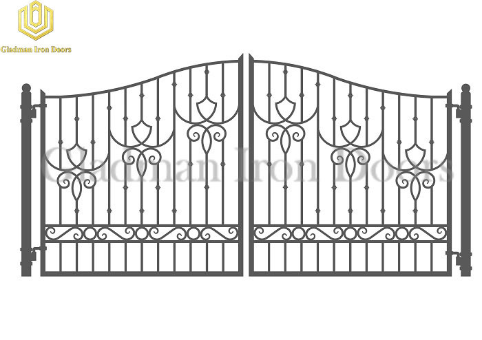Galvanized Steel Gate DUBLIN Style With Simple Curved Flower GS-08
