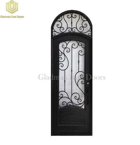 Single Wrought Iron Front Door W/ Round 127 1/2  x 43  x 6 Inches