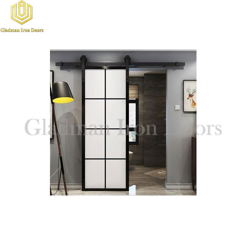 Wrought Iron Barn Door 8 Panels With Sandblast Glass