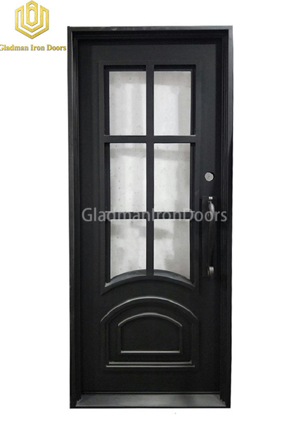 Square Top Wrought Iron Front Door Single Gate Design