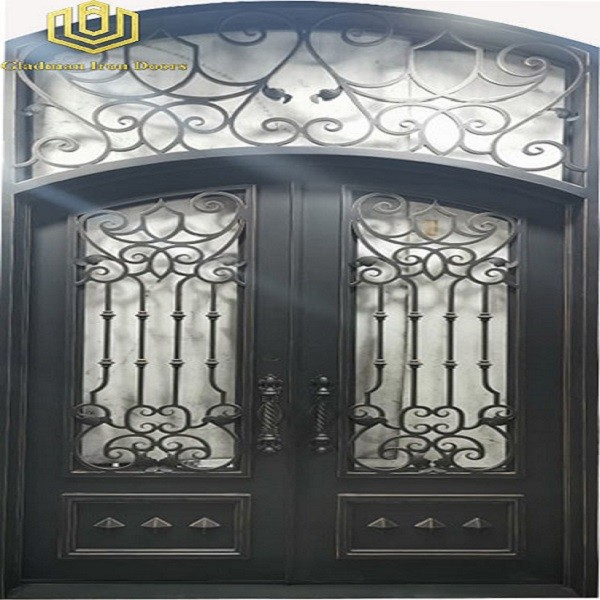 Round Top Double Wrought Iron Doors Security and Durability