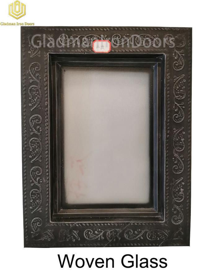Custom Wrought Iron Door Woven Glass