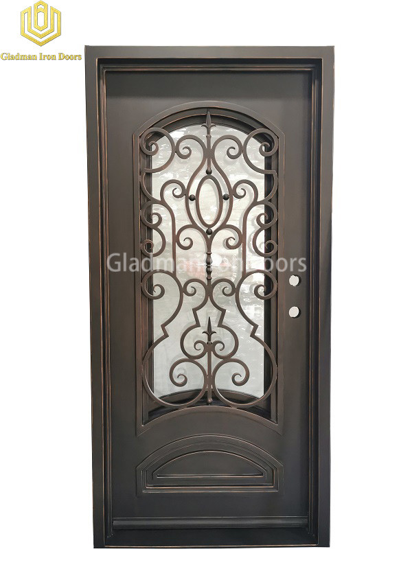 Single Porte Aluminium Wrought Iron Entrance Door with Tempered Glass