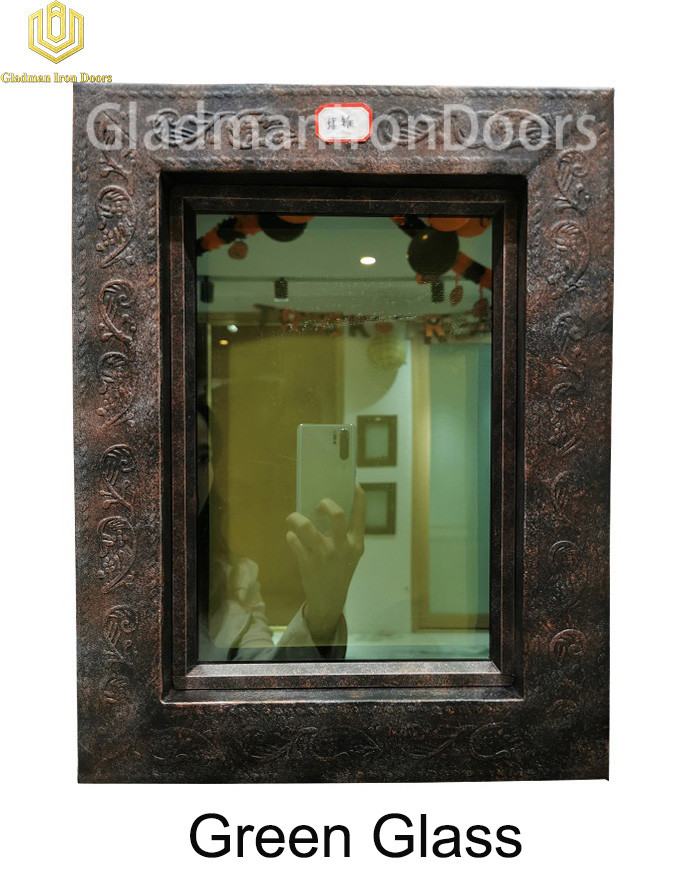 Custom Wrought Iron Door Green Glass