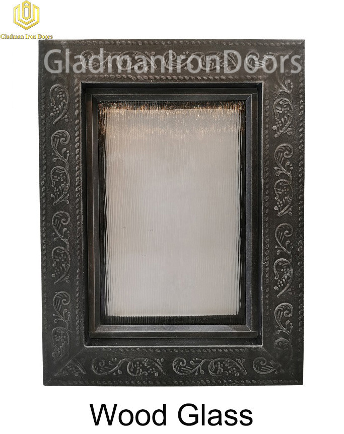 Custom Wrought Iron Door  Wood Glass