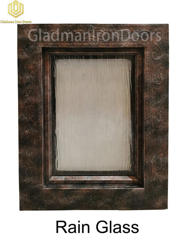 Custom Wrought Iron Door Rain Glass