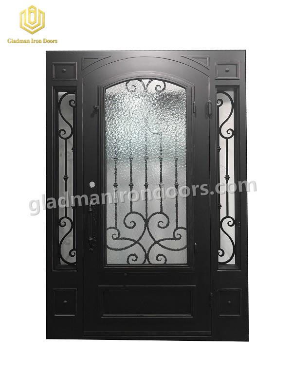 Gladman Wrought Iron Square Top Front Door 96 x 72 x 6-Matte Black