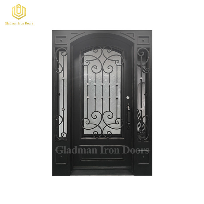 Custom Made or Wholesale Wrought Iron Single Door left  inswing Square Top and Ripple Glass