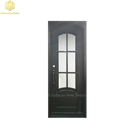 Custom Square Jamb Door Top Wrought Iron Entry Front Door 37.5*97.5 Inch With Water Cubed