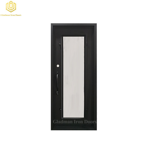 Square Jamb Door Top Wrought Iron Front Door 34.5*81.5 Inch With Flemish Glass