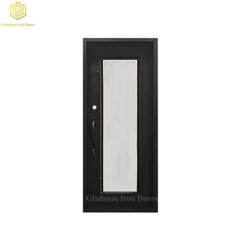 Square Jamb Door Top Wrought Iron Front Door 34.5*81.5 Inch With Flemish Glass