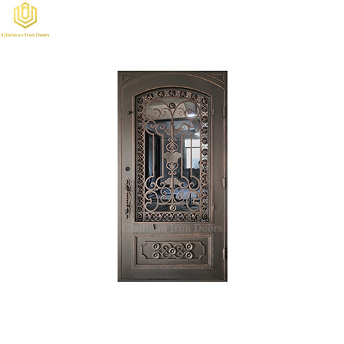 Luxury Wrought Iron Single Front Door Square Top Water Cubed Glass Lantern Copper Design