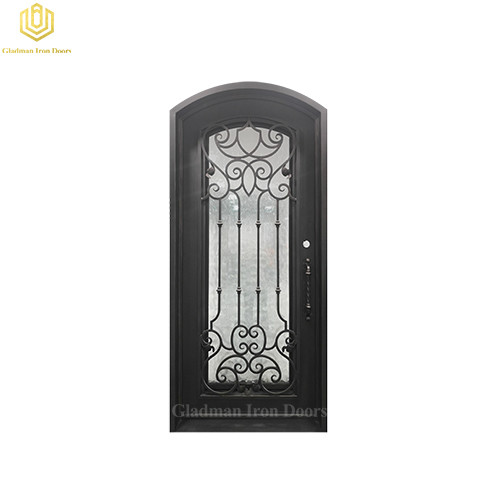 Single Iron Front Door Round Top 43.5*97.5 Inch With Flemish Glass