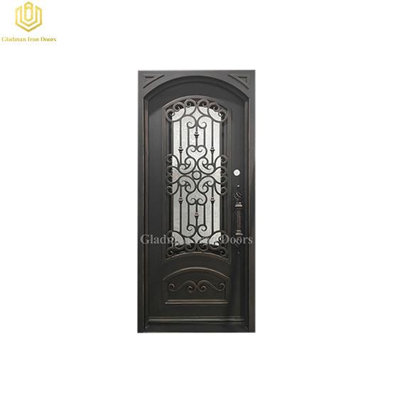 Square Jamb Eyebrown Door Top Wrought Iron Front Door 35.5*82Inch with Water Cubed
