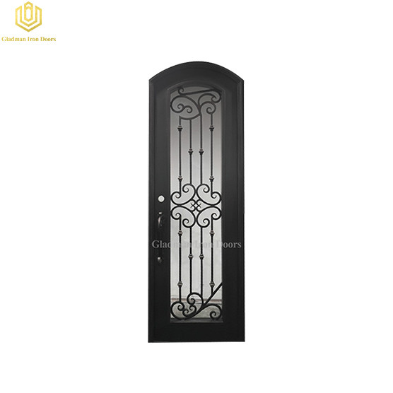 Single Wrought Iron Front Door W/ Round TOP 31.5*96Inch With Lantern