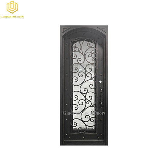 Square Jamb Eyebrown Door Top Wrought Iron Front Door 38*97.5Inch With Flemish and Lantern