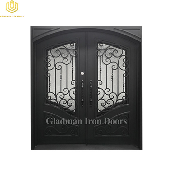 Double Wrought Iron Front Door Square 72.5*81.5Inch Water cubed