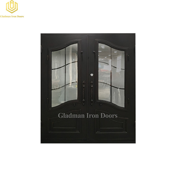 Double Wrought Iron Front Door Square W/Clear Glass 72*81.5Inch
