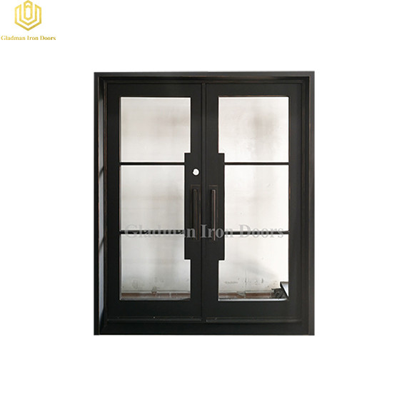 Double Wrought Iron Front Door Square Coal w/Copper Accents And Clear Glass 68.5*81.5Inch