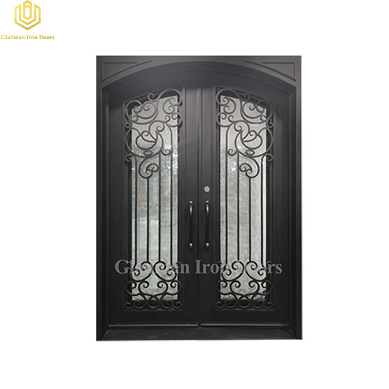 Double Wrought Iron Front Door Square Flemish glass 68.5*98Inch