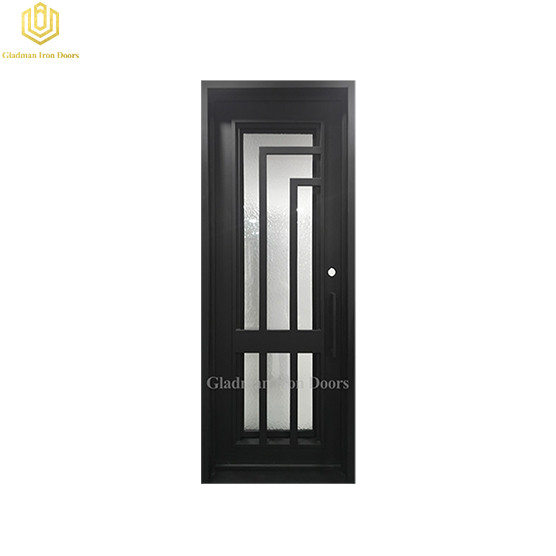 Square Jamb  Door Top Wrought Iron Front Door 38*98Inch With Ripple and Coal