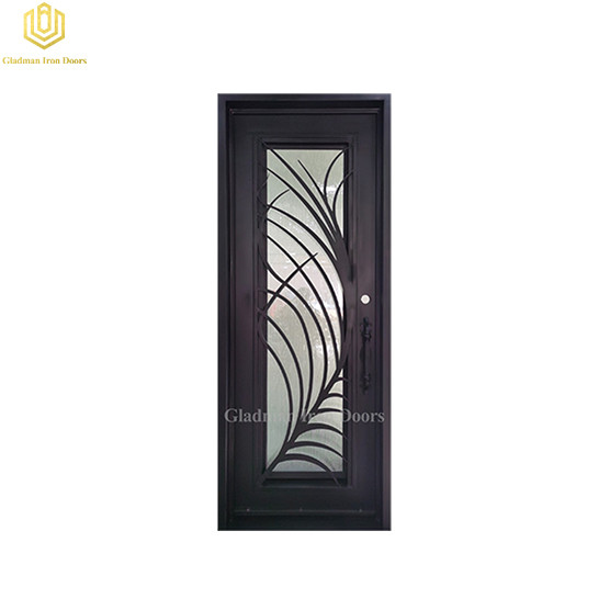 Square Jamb Door Top Wrought Iron Front Door 37.5*97.5Inch With Rain Flass Glass