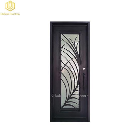 Square Jamb Door Top Wrought Iron Front Door 37.5*97.5Inch With Rain Flass Glass