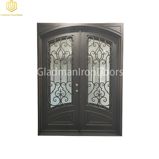 Double Wrought Aluminum Front Door Square Top W/ Special