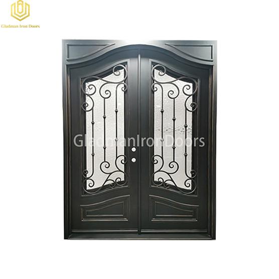 Double Wrought Aluminum Front Door Square Top W/ Special