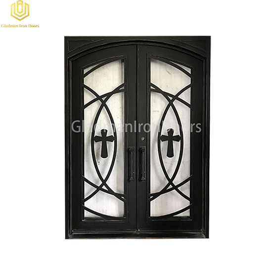Double Aluminum Front Door Square top Coal W/Copper Accents