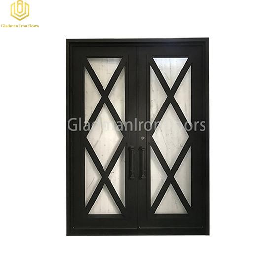 Double Aluminum Front Door square top Lattern accent