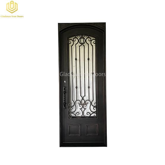 Square Top Aluminum Door Single Gate Design  Lantern w/copper accents