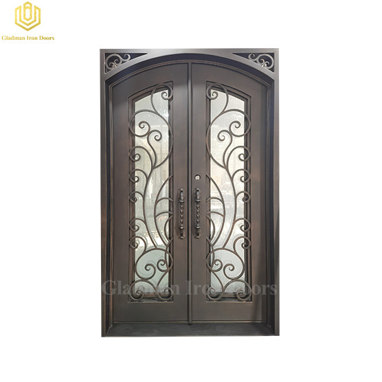 Double Elegant Aluminum Interior Glass Door Square Top Durable