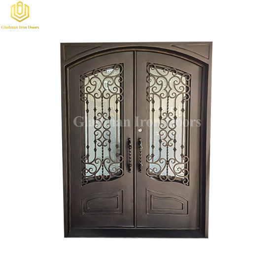 Eyebrow Ornamental Forged Iron Double Doors with Elegant Kickpanel