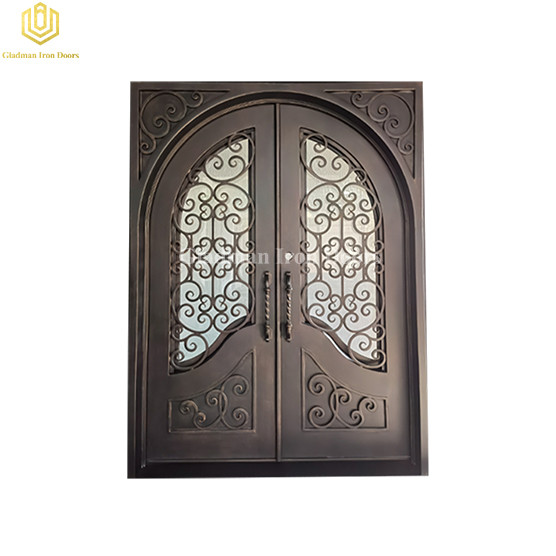New Entry Bronze Patina Operable Glass Window Double Wrought Iron Door