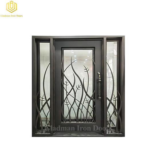 Exterior Security Entrance Laser Cut Double Wrought Iron Wine Cellar Door