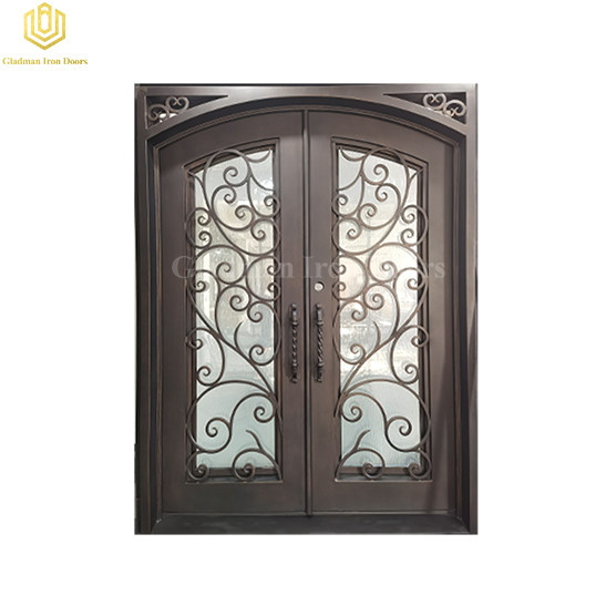 Popular Double Wrought Iron Front Door Eyebrow Door Cross Flat Bar Matte Art Metal Doors