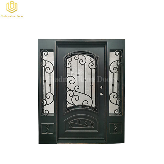 Exterior Security Entrance Laser Cut Double Wrought Iron Wine Cellar Door with Sidelights