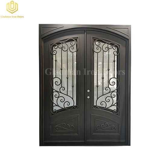 Eyebrow Ornamental Forged Iron Double Doors with Elegant Kickpanel