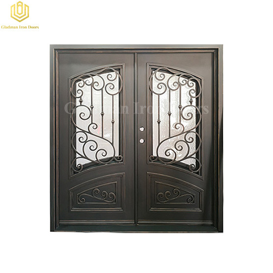 Hot Sale Wrought Iron Door with Openable Window and Forged Handles